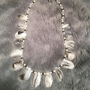 Stunning Grey and White Banded Agate Necklace
